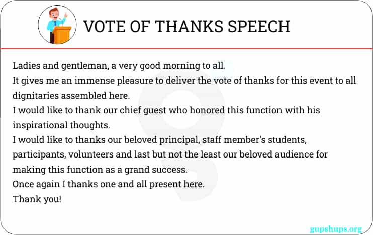 Vote of Thanks speech